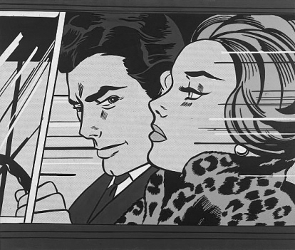 Roy Lichtenstein; In The Car 1963; s/w-Verfremdet